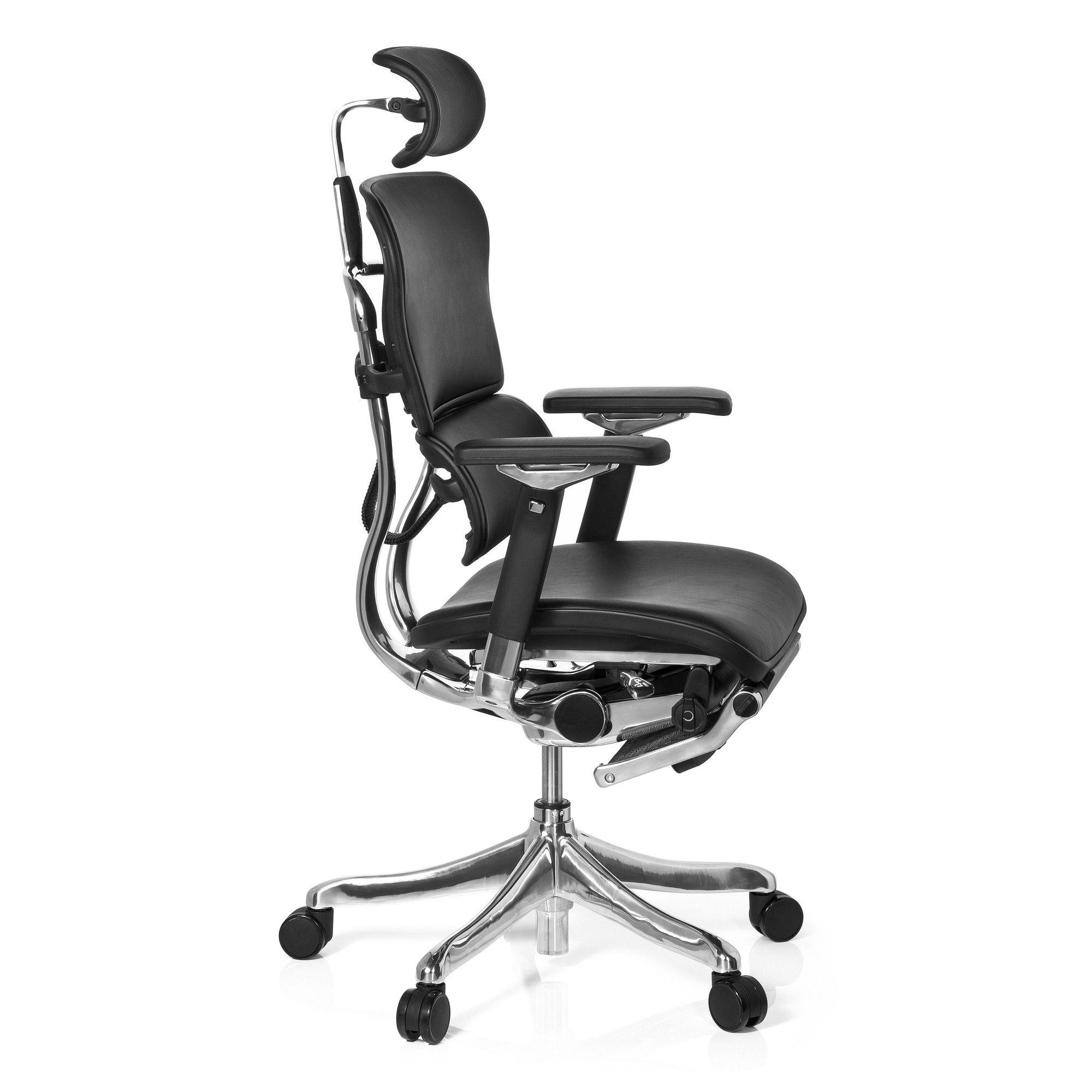 b rostuhl chefsessel ergohuman plus legpro mit beinablage leder schwarz hjh office b2b. Black Bedroom Furniture Sets. Home Design Ideas