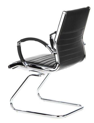 Konferenzstuhl Freischwinger Stuhl Parma V Leder Schwarz
