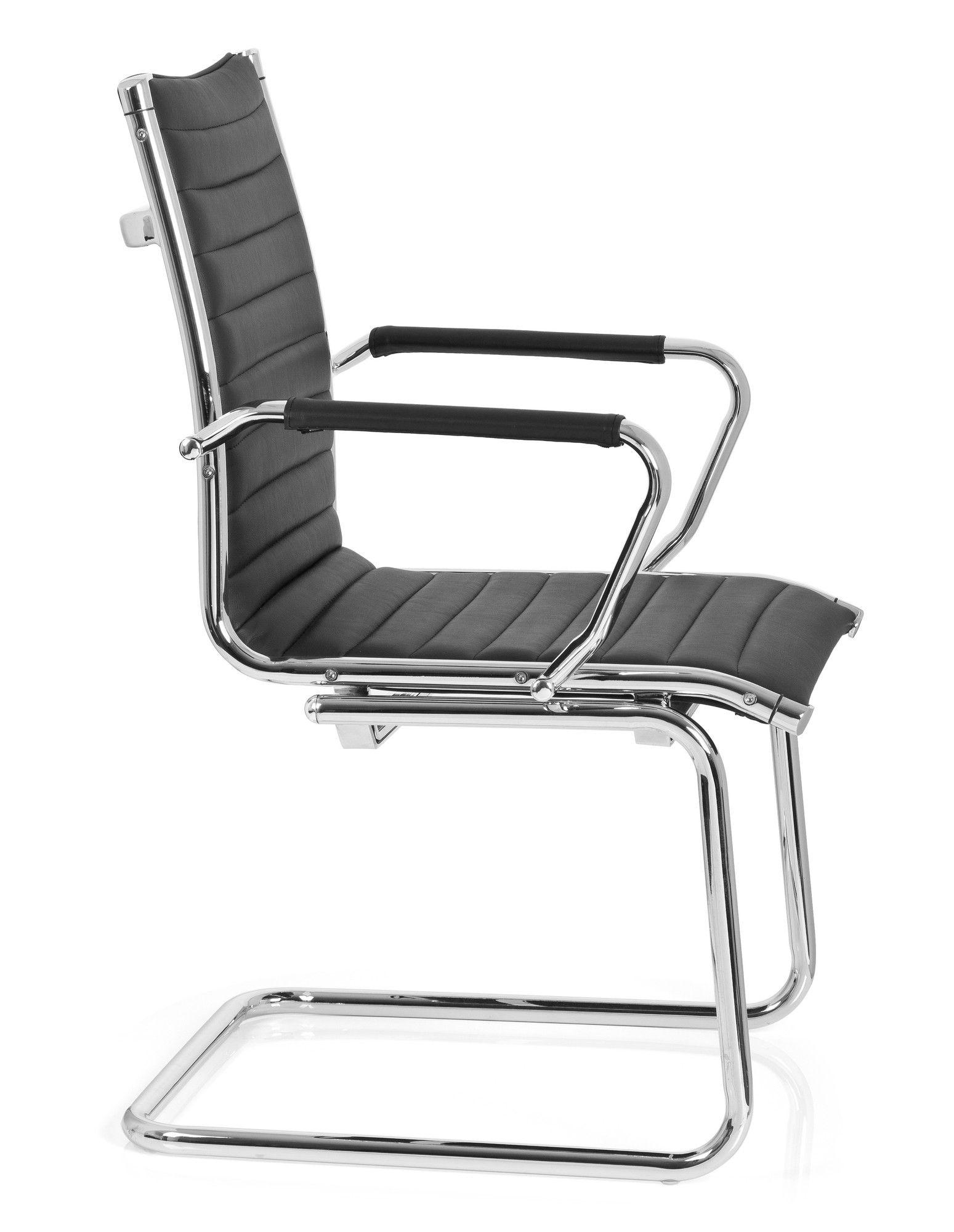 Besucherstuhl Konferenzstuhl Stuhl VEMONA V PU schwarz