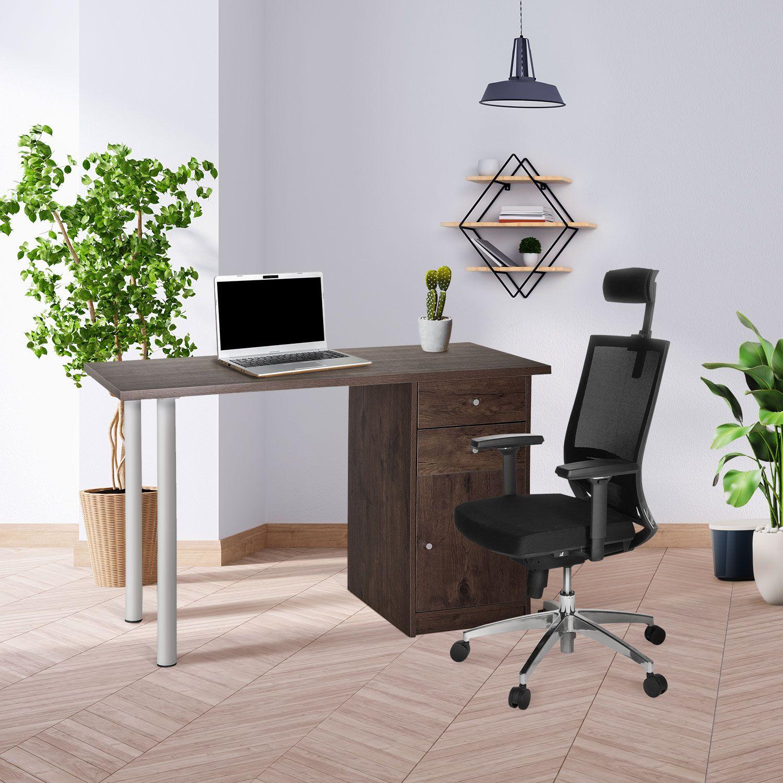 Schreibtisch Walnuss Weiß 2021