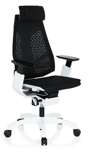 Bürostuhl Drehstuhl GENIDIA PRO WHITE Netzstoff schwarz