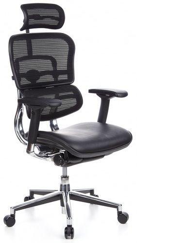 b rostuhl chefsessel ergohuman sitz leder r cken netz schwarz hjh office profi office. Black Bedroom Furniture Sets. Home Design Ideas