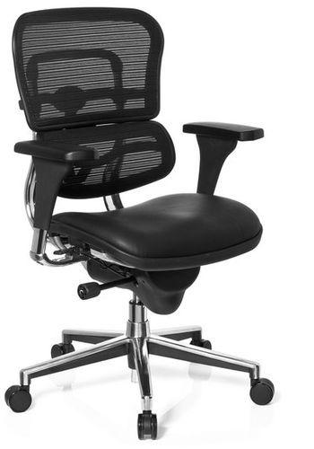 b rostuhl chefsessel ergohuman base sitz leder r cken netz schwarz hjh office profi office. Black Bedroom Furniture Sets. Home Design Ideas