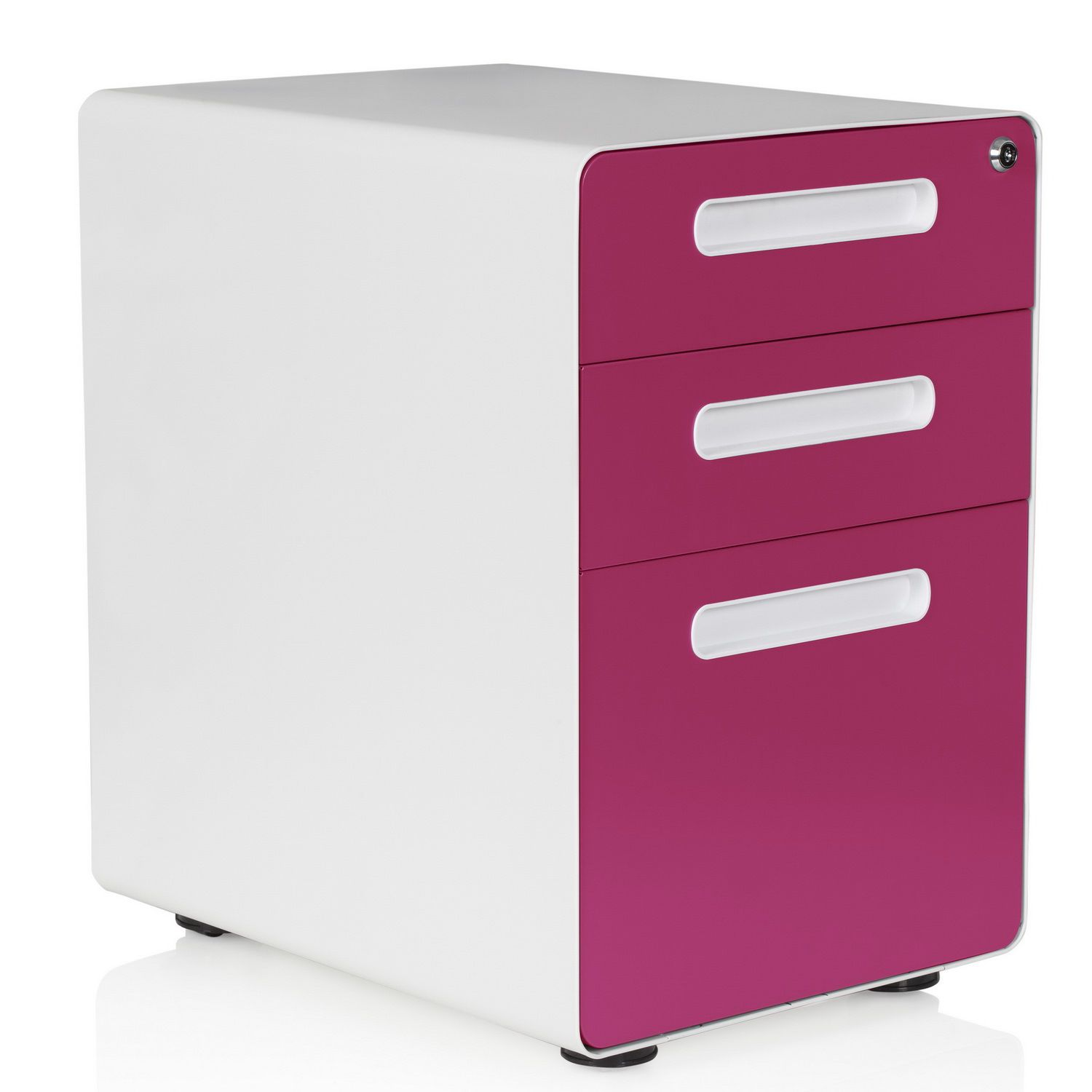 Rollcontainer COLOR PLUS Metall weiß / pink hjh OFFICE