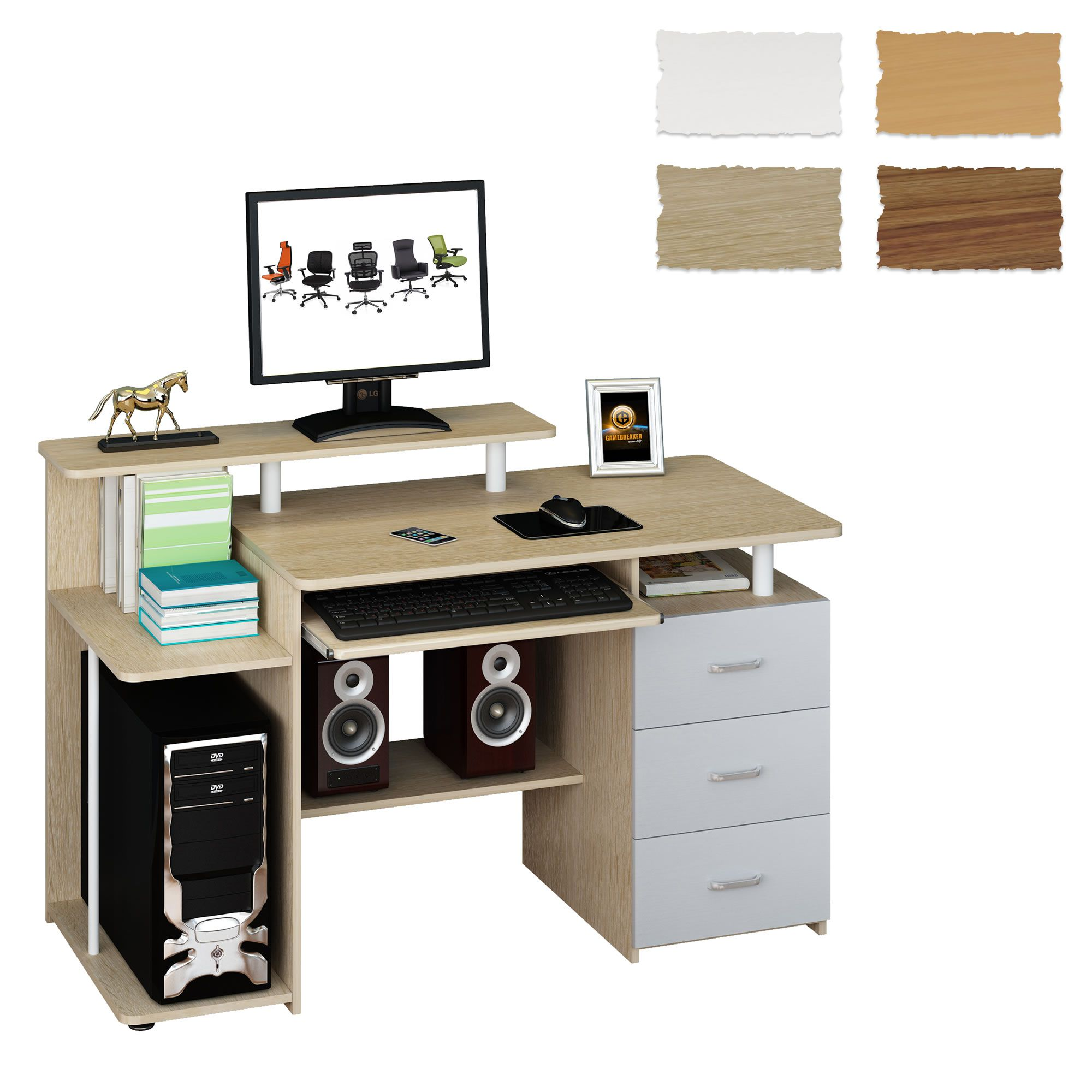 Computertisch schreibtisch pc tisch standcontainer stauraum wei buche stella ebay - Petit bureau pour pc ...