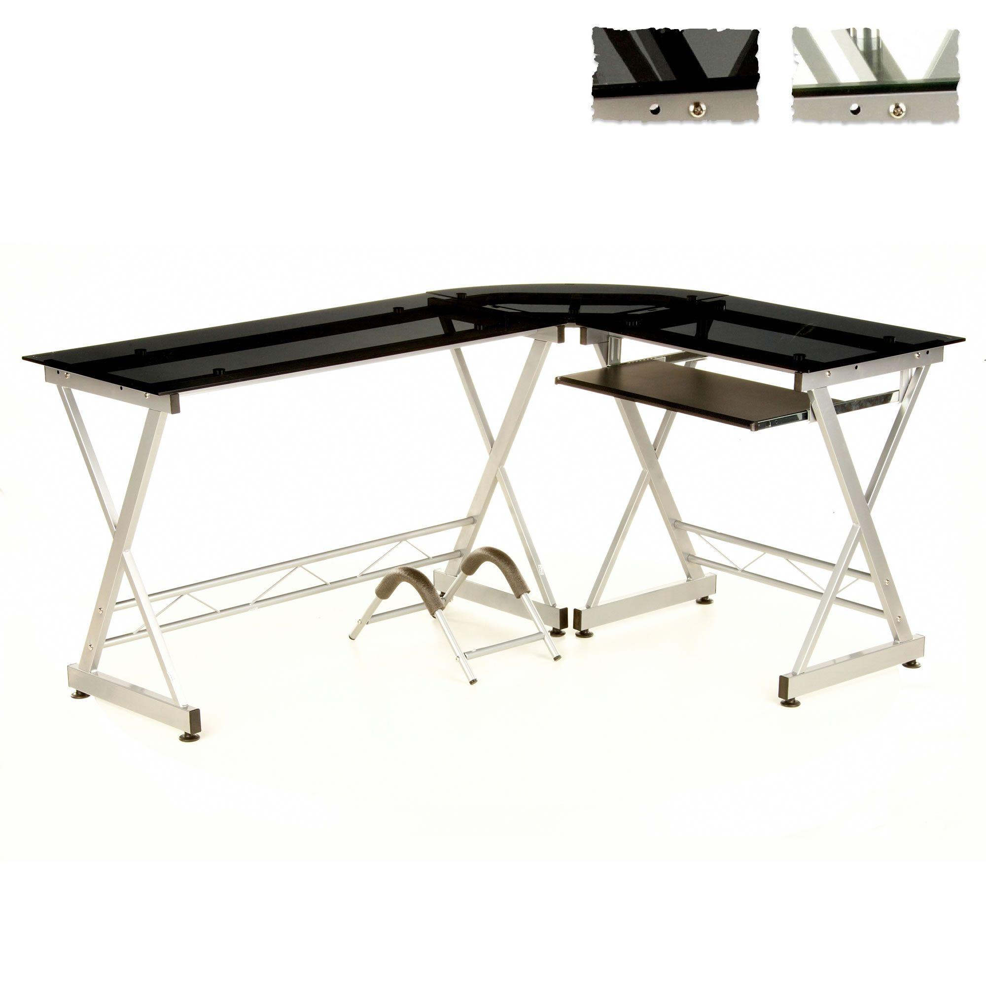 hjh office schreibtisch b rom bel winkelschreibtisch b ro tisch pc glas x pert ebay. Black Bedroom Furniture Sets. Home Design Ideas